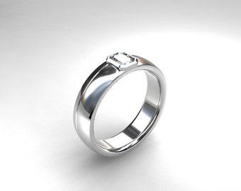 0.22ct Emerald cut diamond, white gold, wedding band, men's wedding ring, emerald cut, modern, wedding ring, gold wedding