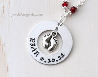 Mommy necklace hand stamped baby birth necklace, mom personalized baby necklaces, Name date Perfect for new mom, baby feet, keepsake baby