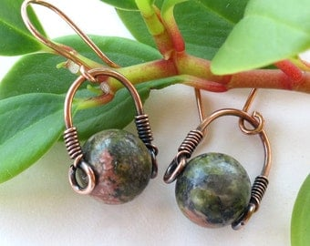 Green unakite stone earrings - copper wire wrapped gemstone bead