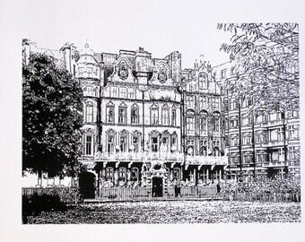 London - Milestone Hotel, Kensington, Hyde Park - limited edition screenprint