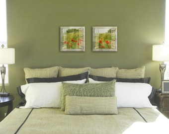 Set of 2 canvas prints - window view of red Poppy flowers - wedding gift idea