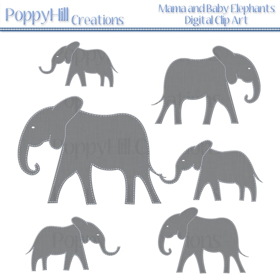 INSTANT DOWNLOAD - Printable Blue Stiched Mama and Baby Elephant Digital Clip Art - For Personal or Commercial Use