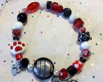 Until They All Have A Home Charm Bracelet-Any Color Combo Requested-Made to Order-One of a Kind-Beads from Around the World-Support Rescue