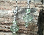 Stylsh Light Green/Mint Swarovski Crystal Pierced Earrings with Tibetan Silver Daisy Wheel Spacer