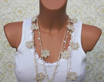 Beige Crochet Necklace, Lariat Necklace, Open End Necklace, OYA necklace, Bridesmaids gift