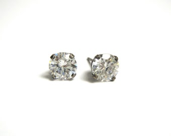 Sterling Silver Cubic Zirconia Stud Earrings - Pierced - Post Back - Reduced
