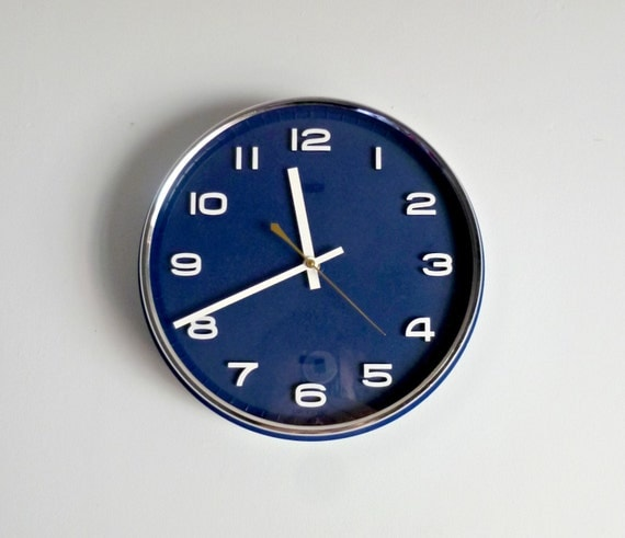 mid century modern circle wall clock monaco blue by