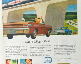 Highway scene Ad for LP Gas - vintage car art or family trip wall art