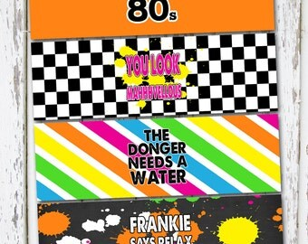 INSTANT DOWNLOAD - 80s drink wraps