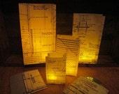 Blueprint Luminary Bags, Architecture, Custom Made With Original Vellum Blueprints, Architect, Wedding Decor, Architectural