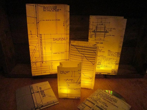 Blueprint luminary bags architecture custom made with for What size paper are blueprints printed on