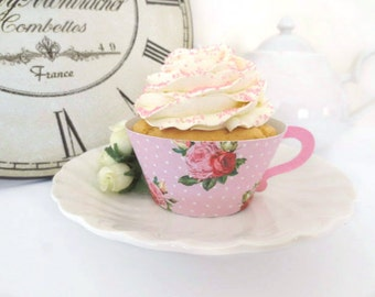 VINTAGE Tea Cup Printable Cupcake Wrappers / Favour Holders - High Tea Rose Design DIY (Choose your colours)