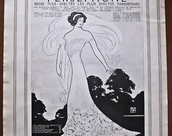 Persephone, corset, 1911, vintage, ad, original, Maximilian Fischer, fashion, French,advertisement, FREE WORLDWIDE SHIPPING, paper, ephemera