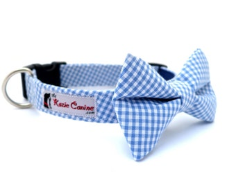 Gingham  Dog Collar (Blue Checkered Dog Collar Only - Matching Bow Tie Available Separately for Wedding & Special Occasion)