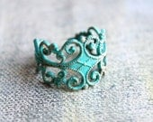 Filigree ring patina solid brass boho ring adjustable AQUA