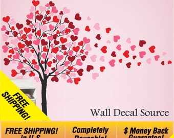 Reusable Wall Vinyl - Heart Tree Wall Decal - Cute Tree Wall Decal - Nursery Wall Decal