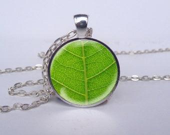 Retro Green Leaf Necklace, Leaf Jewelry, Green Leaf Art Pendant, Leaf Charm [A1450]