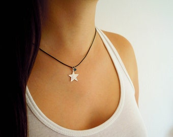 Little Star with Blue Bead and Black Leather Cord Sterling Silver Pendant