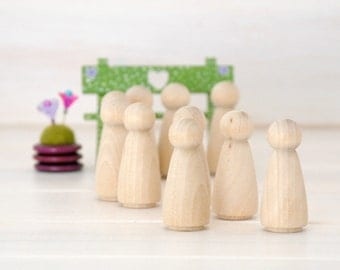 10 Wooden Peg Dolls - Unfinished Wooden People - Girl wood doll - Set of 10 wooden girls in a Muslin Bag - DIY Crafts