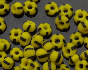 Vintage Czech Bumblebee Beads Matte Yellow with 4 Black Stripes Size 6/0 10 Grams