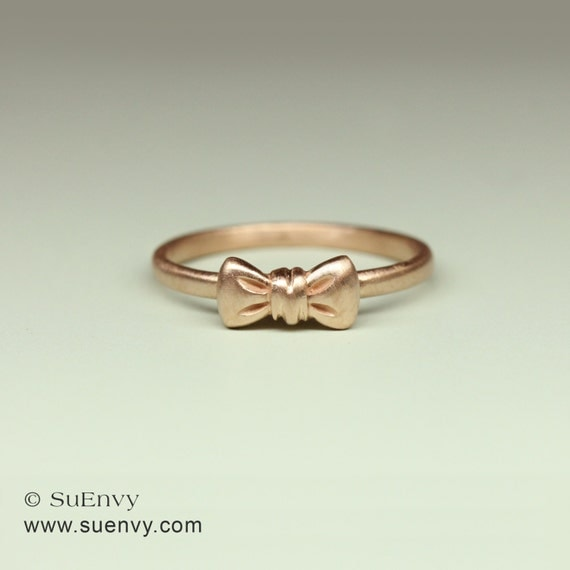 bow ring in 14k gold ribbon ring in 14k pink gold by