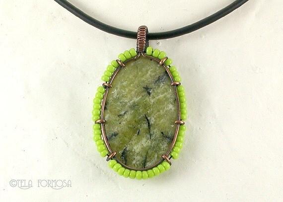 SALE Serpentine Pendant Dendrites Lime Green Pendant Wire Wrapped Pendant Wire Wrapped Jewelry Handmade Copper Pendant Natural Stone Beaded