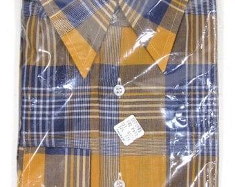 Vintage Deadstock Macrae Prest Plaid/Tartan Sport Shirt Sz.M 1970's