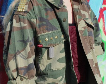 Gold or Silver Studded Army Jacket Fatigue Shirt