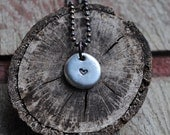 Heart Necklace, Pewter Pebble with Sweet Heart Symbol and Rustic Copper Ball Chain
