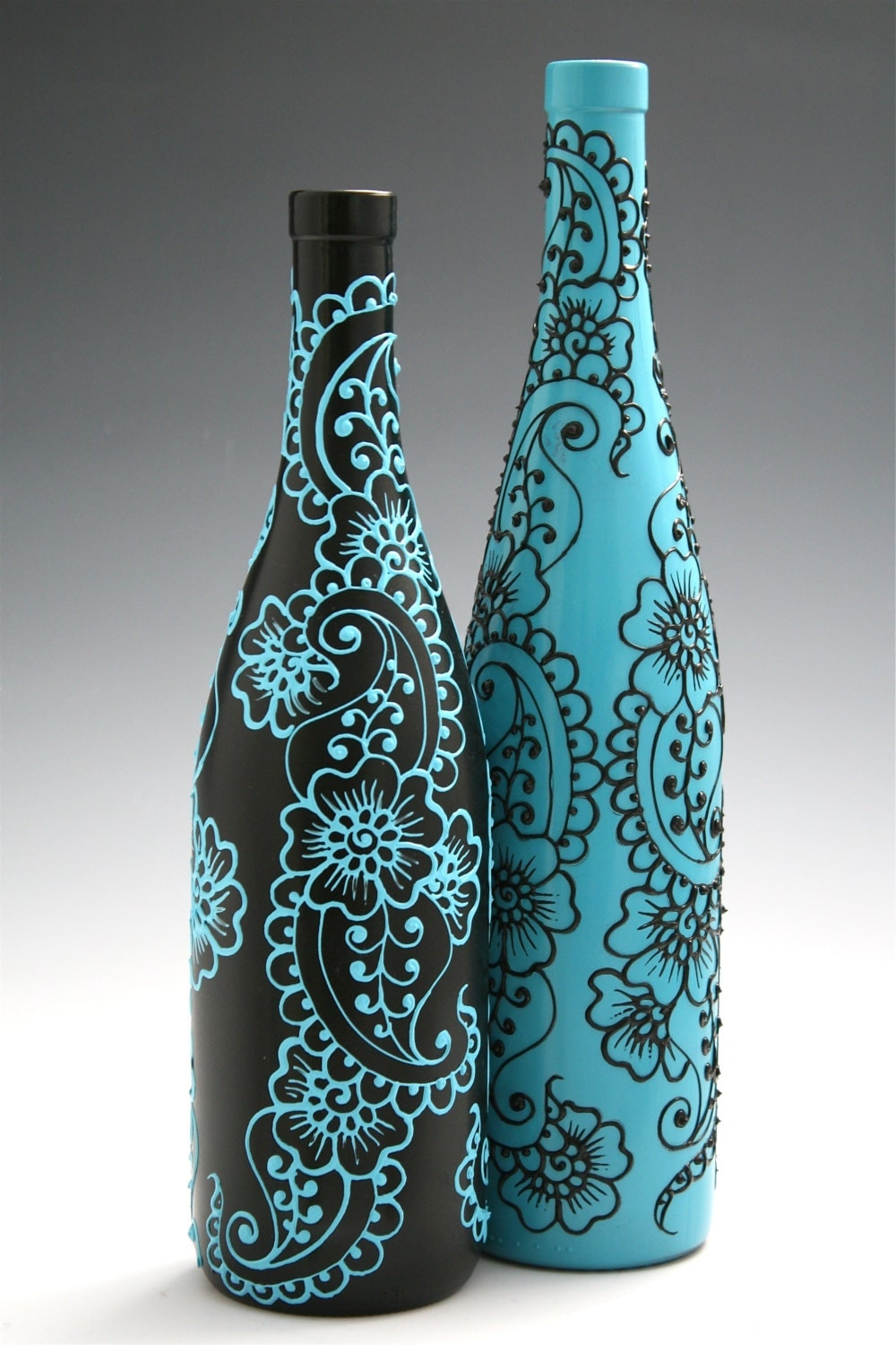 Set Of 2 Hand Painted Wine Bottle Vases Turquoise By