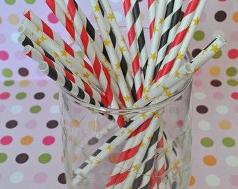 Movie Night Party Oscar Party Academy Awards Party Paper Straws and Coordinating DIY Straw Flag PDF