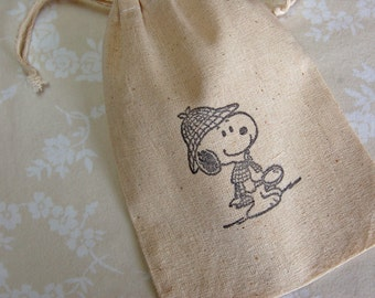 Sherlock Holmes Snoopy Bags -Set of 10 Muslin, Party Favor/ Goody Bags/ Gift Bags