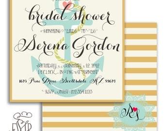 Printable invitations bridal shower invitation nautical