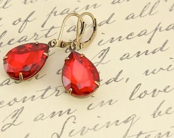 Vintage Ruby Red Earrings, Large Rhinestone Earrings, Wedding Jewelry