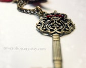Key Necklace Vingate Steampunk with red ribbon, Swarovski crystals