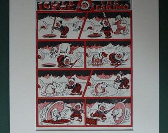 Original 1946 Icicle Joe Print - Eskimo - Ice - Igloo - Polar Bear - Fishing - Hunting - North Pole - Arctic - Inuit - Red & Black - Matted