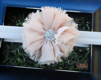 MANY MORE COLORS-Beige Chiffon Elastic Headband-Infant Headband-Toddler Band-Beige Headband-Boutique Style-Shabby Chic-Rhinestone Flower