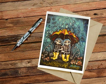 Cheer Up Best Friend Skeleton Card Thinking of You PDF printable Greeting Card Instant Download