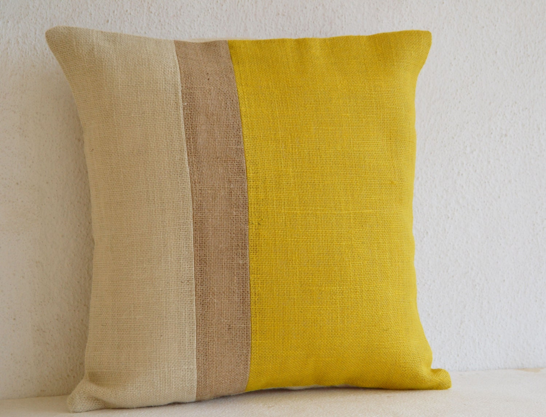 yellow pillow throw pillows color block burlap pillow. Black Bedroom Furniture Sets. Home Design Ideas