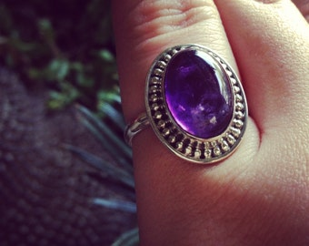 Amethyst sterling silver ring. Size 7.5