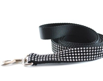 Black Bling Dog Leash - Black and Clear Rhinestone - Diamante - Swarovski-like Leash