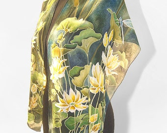 Blue green silk scarf - Waterlily & Dragonfly scarf - hand painted scarves - blue scarf - water lilies scarf  Ofelia - silk scarves