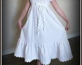 Vintage Pink & White Stripe Seersucker Edwardian Maxi Dress by Steady As She Goes custom girl 4 5 6 7 8 10 Victorian Downton Abbey tea party