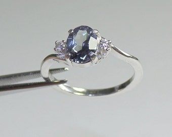 Color - Changing Alexandrite & Diamonds (Lab) Sterling Silver Ring June Birthstone
