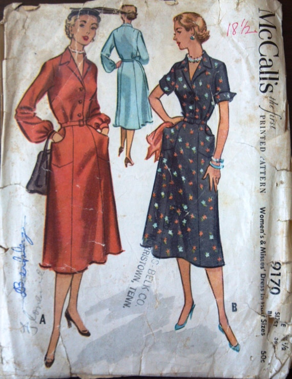 McCalls 9170 Pattern for Misses' Belted Dress, Size 18.5, from 1952