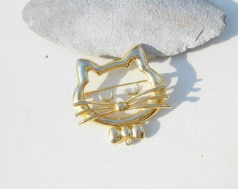 Vintage Cat head brooch whimsical jewelry large vintage pin