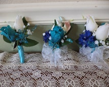 Real Touch White Rose Sapphire Blue and Aqua Silk Corsage and Boutonniere Combination / Blue Wedding Flowers / Blue Prom Flowers