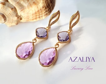 Lavender Purple Lilac Crystal Chandeliers on Beautiful Gold Vermeil Zirconia Studs. Azaliya Luxury Line. Bridal Jewelry, Bridesmaids. Gift.