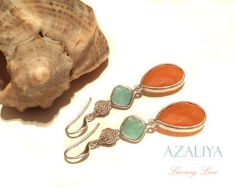 Aquamarine and Tangerine. Orange Jade & Blue Opal Chandeliers. Silver Zircon Dangles. Bezel Earrings. Azaliya Luxury Line. Bridal Gifts