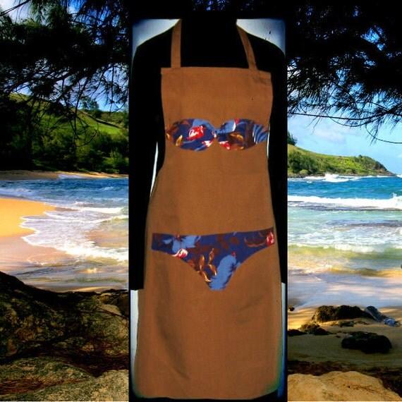 Apron Bikini Theme Hawaiian Beach Summer BBQ Party Handmade Vintage Costume Women Clothing Accessories Fathers Day